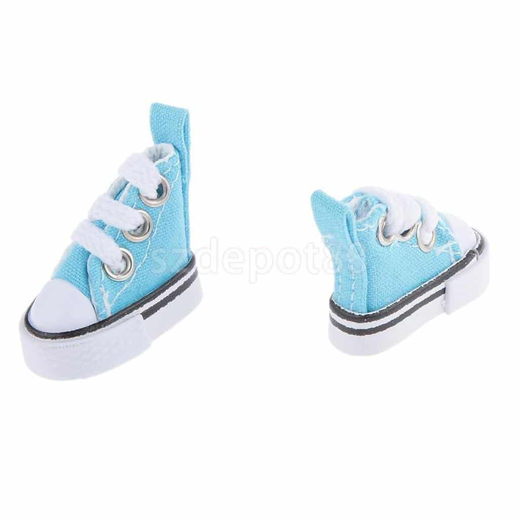 16 Blue High Top Lace-up Sneakers Shoes Fit Barbie Blythe Pulip Jenny Dolls