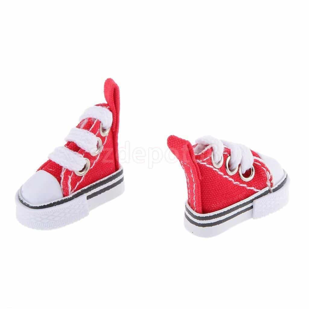 16 Red High Top Lace-up Sneakers Shoes Fit Barbie Blythe Pulip Jenny Dolls