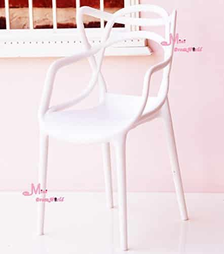 16 Scale Art Decor Plastic Chair White Color for barbie BJD Doll Dollhouse Miniature
