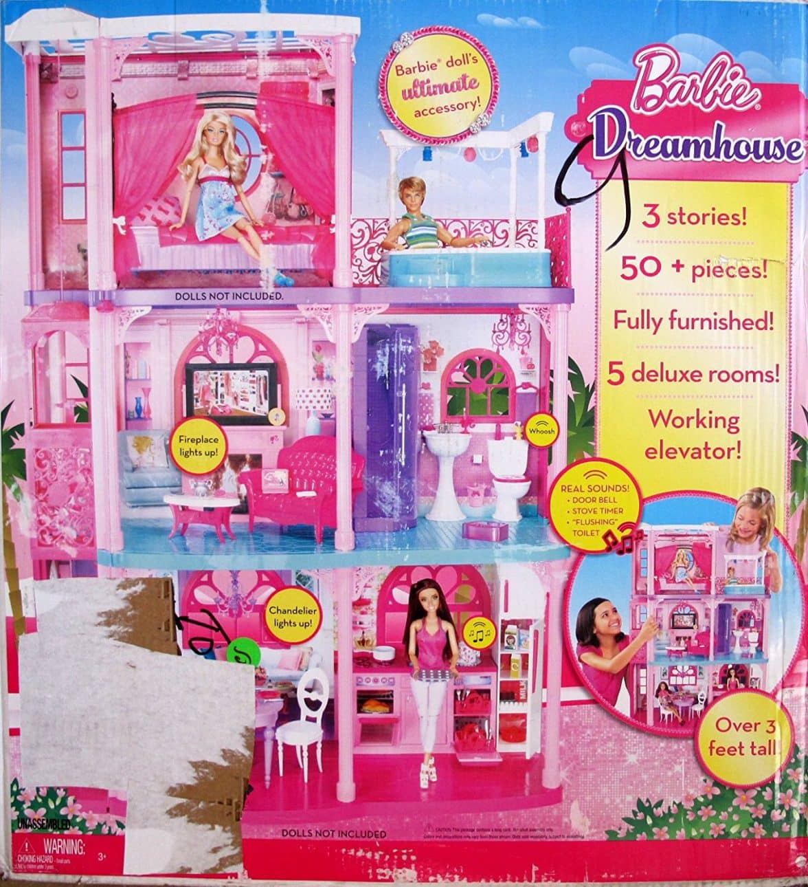 BARBIE 3 STORY DREAMHOUSE 'FURNISHED' DREAM HOUSE Over 3 ...