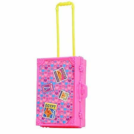 ... Lanlan 1PCS Pink Plastic Simulation Mini Travel Case Suitcase Storage  For Barbie Doll House Accessories Kids