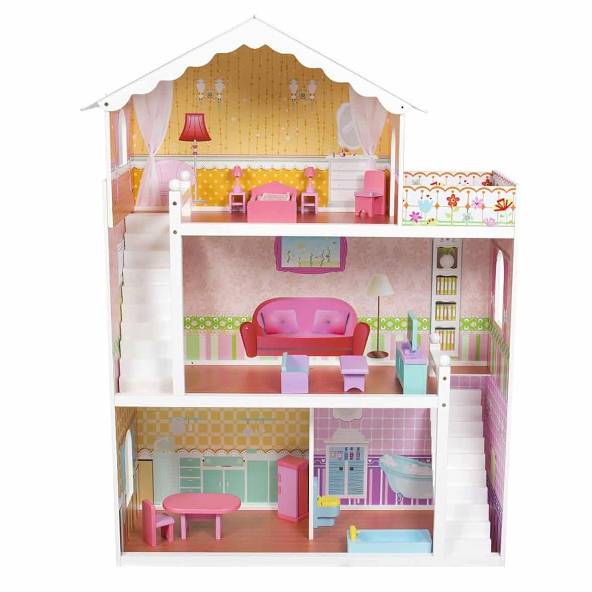 large children 39 s wooden dollhouse fits barbie doll house pink with furniture barbie collectibles. Black Bedroom Furniture Sets. Home Design Ideas