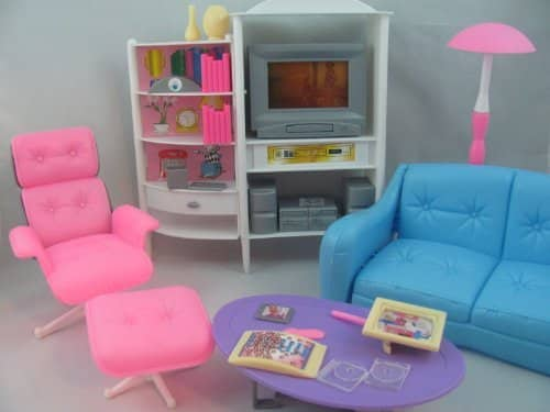 [Gloria] gloria Barbie Size Dollhouse Furniture Family Room TV couch ottoman zs-68 [parallel import goods]