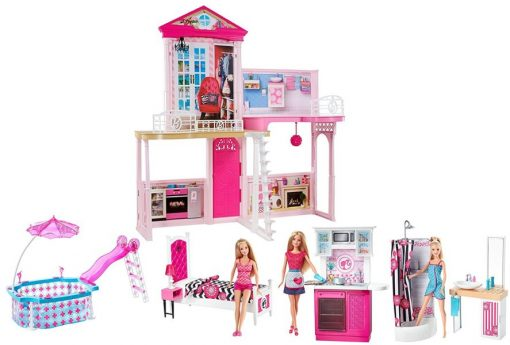 Barbie Dream House & Pool Gift Set with Three Dolls 31 Inches Tall