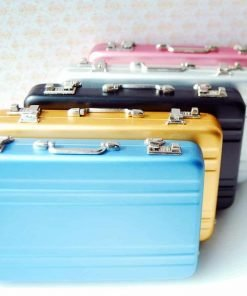 16 Barbie Blythe Doll Dollhouse Miniature Toy Trunk Box Suitcase Blue 1set