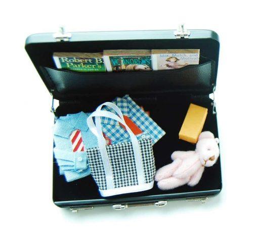 16 Barbie Blythe Doll Dollhouse Miniature Toy Trunk Box Suitcase Blue 1set