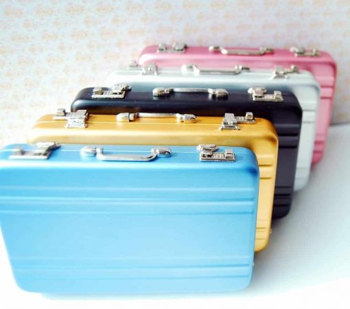 16 Barbie Blythe Doll Dollhouse Miniature Toy Trunk Box Suitcase Silver 1set