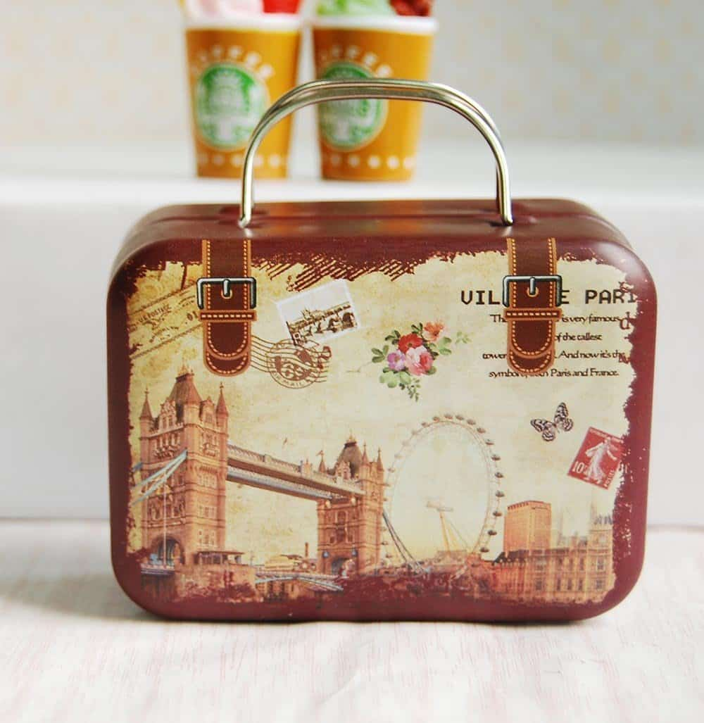 Cute Dollhouse Miniature Iron Suitcase Luggage Food Box for 1:6 BJD Dolls