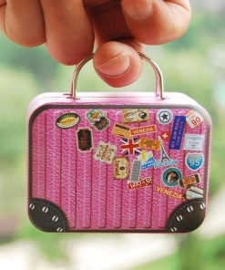 16 Barbie Blythe Size Pink Doll Dollhouse Miniature Toy Trunk Box Suitcase Luggage Traveling Case