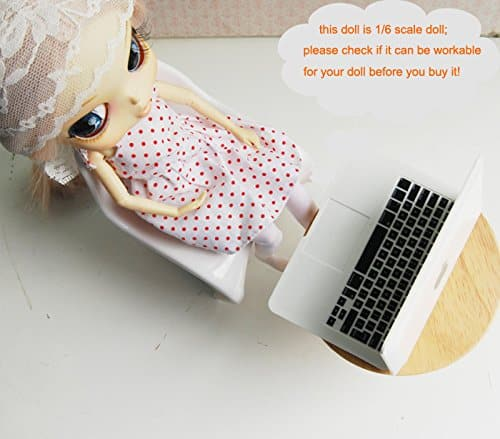 16 Dollhouse Miniature Lap Top Computer in Gray for Barbie Doll