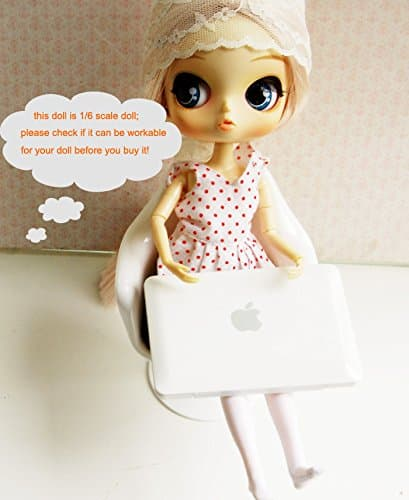 16 Dollhouse Miniature Lap Top Computer in White for Barbie Doll