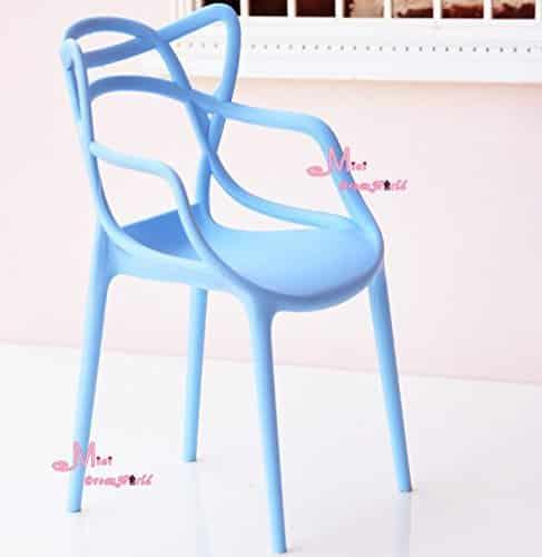 16 Scale Art Decor Plastic Chair Blue Color for barbie BJD Doll Dollhouse Miniature
