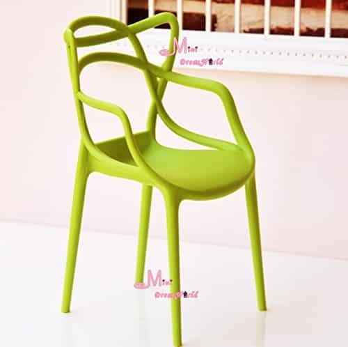 16 Scale Art Decor Plastic Chair Green Color for barbie BJD Doll Dollhouse Miniature