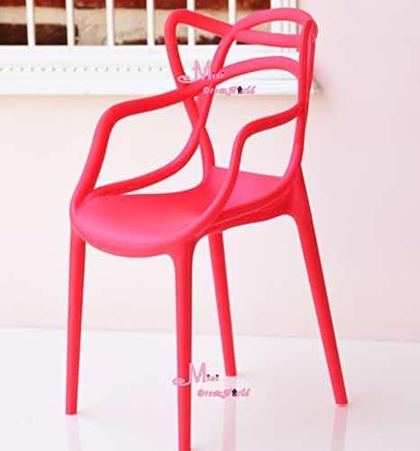 16 Scale Art Decor Plastic Chair Red Color for barbie BJD Doll Dollhouse Miniature