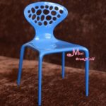 16 Scale Barbie Blythe Toy Plastic Blue Art Backrest Chair Dollhouse Miniature