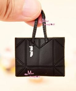 16 Scale Dollhouse Miniature Barbie Doll Lady Man Handbag Bag Toy Black color