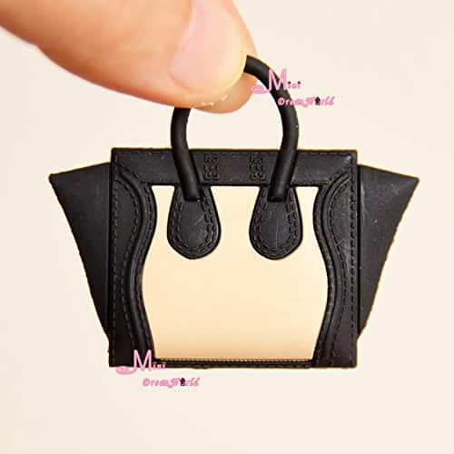 16 Scale Dollhouse Miniature Black Toy Plastic Lady Handbag Bag for Dolls for Barbie BJD Blythe
