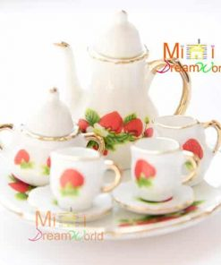 1/6 Scale Dollhouse Strawberry Miniature Porcelain Coffee Tea Set for Barbie Blythe 8pcs