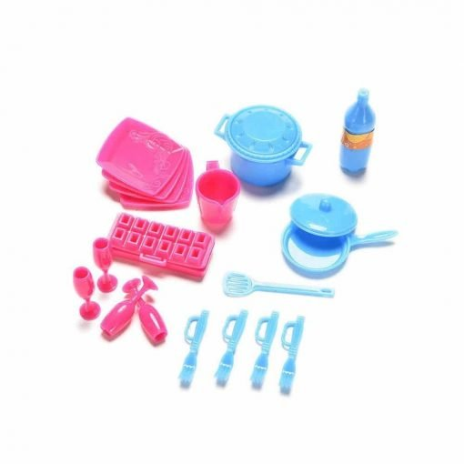 Asiv 18 Pcs Mini Simulation Miniature Tableware Kitchen Utensil Accessories Pots and Pans Dishes Cutlery for Barbie Dolls