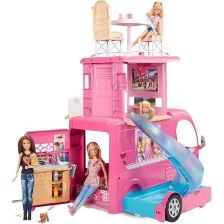 Barbie Pop-Up Camper, Barbie Camper Vehicle / When road-ready, it's a glam vehicle with signature style and 2 seats upfront
