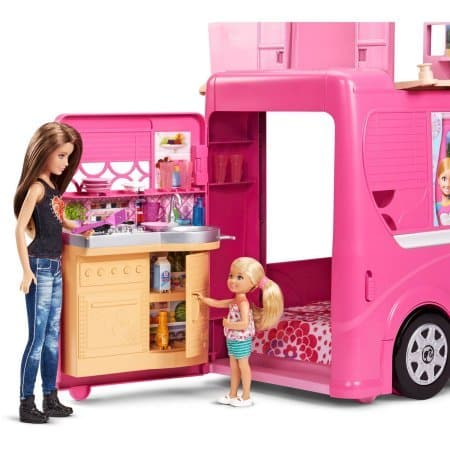 Barbie Pop-Up Camper, Barbie Camper Vehicle When road-ready, it's a glam vehicle with signature style and 2 seats upfront (7)