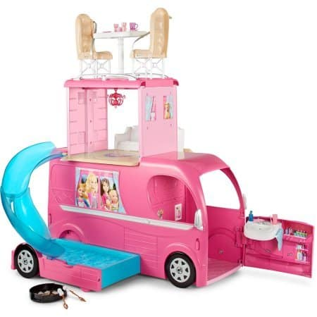 Barbie Pop-Up Camper, Barbie Camper Vehicle When road-ready, it's a glam vehicle with signature style and 2 seats upfront (8)