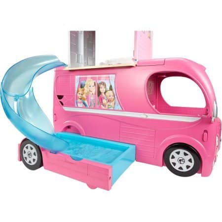 Barbie Pop-Up Camper, Barbie Camper Vehicle When road-ready, it's a glam vehicle with signature style and 2 seats upfront (9)