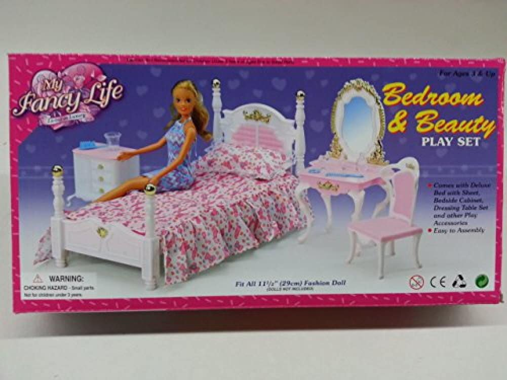 Phenomenal Barbie Size Dollhouse Furniture Bed Room Beauty Play Set Bralicious Painted Fabric Chair Ideas Braliciousco