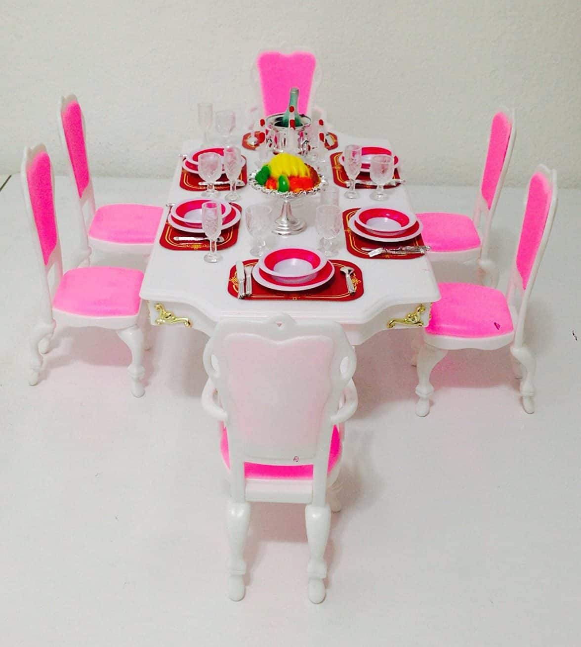 Dining Room Play: Barbie Size Dollhouse Furniture-Grand Dining Room Play Set