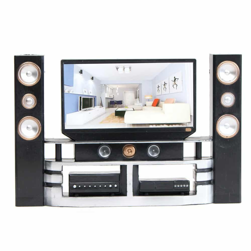 E-TING Hi-Fi TV Cabinet Set Dollhouse Furniture Accessories For Barbie Doll
