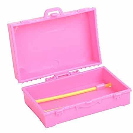 Lanlan 1PCS Pink Plastic Simulation Mini Travel Case Suitcase Storage For Barbie  Doll House Accessories Kids