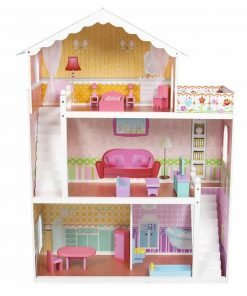 Large-Childrens-Wooden-Dollhouse-Fits-Barbie-Doll-House-Pink-With-Furniture