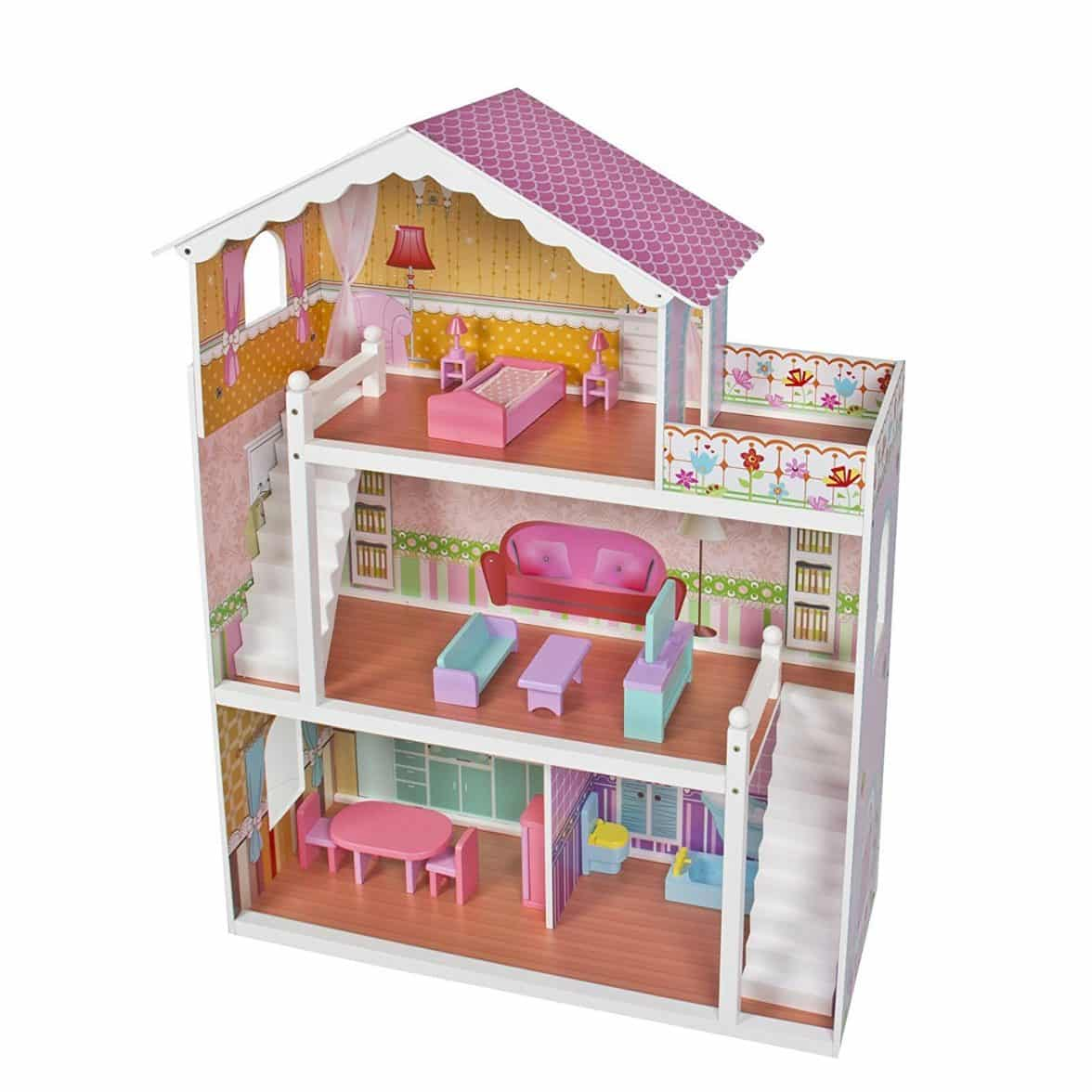 Large Children S Wooden Dollhouse Fits Barbie Doll House Pink With