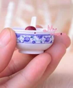 Red Dates rice Porridge WSpoon Food 16 scale Barbie Blythe Dollhouse Miniature