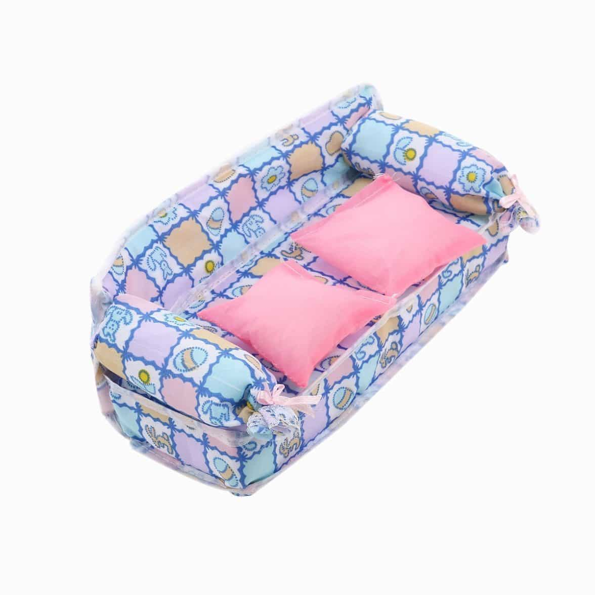 ... Tinksky Lovely Miniature Dollhouse Furniture Flower Print Sofa Couch with 2 Cushions for Barbie Dolls