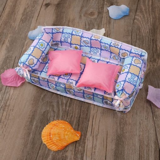 Tinksky Lovely Miniature Dollhouse Furniture Flower Print Sofa Couch with 2 Cushions for Barbie Dolls