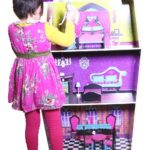 Wooden-Dollhouse-Deluxe-Big-45-Inch-Solid-Wood-Pretend-Doll-House-Fits-Barbie-Dolls-with-8-Pcs-Furniture-Playset