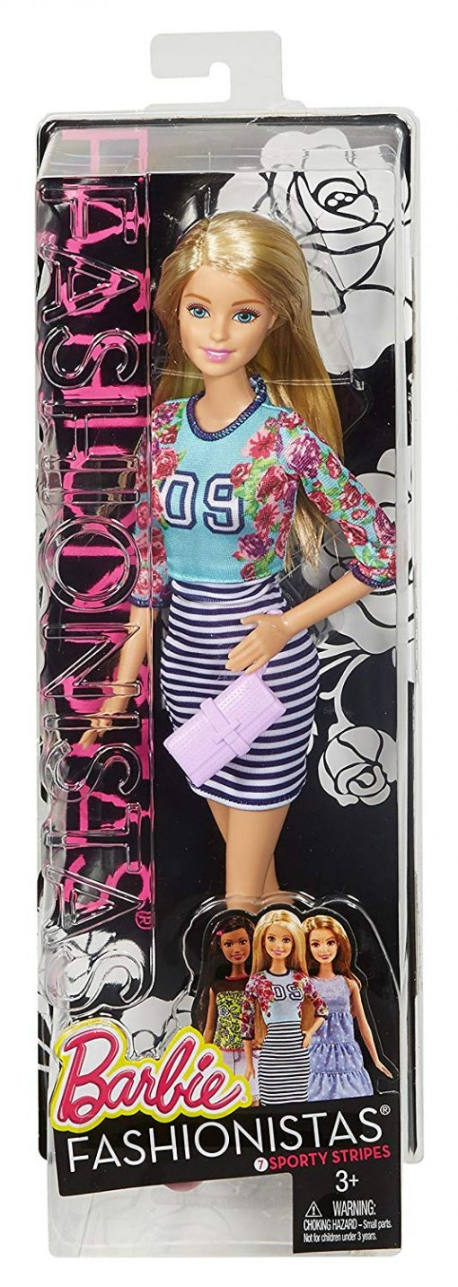 Barbie Fashionistas Doll Floral Top and Striped Skirt - Original 4