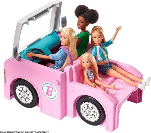 Barbie 3-in-1 DreamCamper Vehicle, approx. 3-ft, Transforming Camper with Pool, Truck, Boat and 50 Accessories, Makes a Great Gift for 3 to 7 Year Olds - 4
