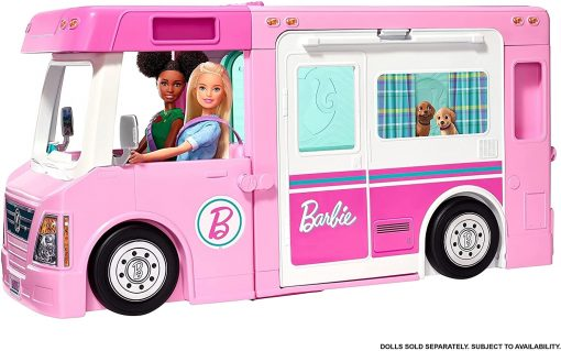 Barbie 3-in-1 DreamCamper Vehicle, approx. 3-ft, Transforming Camper with Pool, Truck, Boat and 50 Accessories, Makes a Great Gift for 3 to 7 Year Olds - 5
