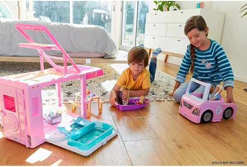 Barbie 3-in-1 DreamCamper Vehicle, approx. 3-ft, Transforming Camper with Pool, Truck, Boat and 50 Accessories, Makes a Great Gift for 3 to 7 Year Olds - 7