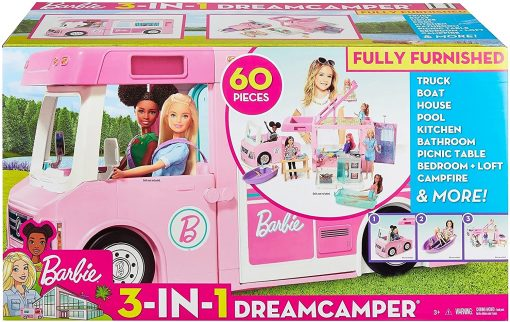 Barbie 3-in-1 DreamCamper Vehicle, approx. 3-ft, Transforming Camper with Pool, Truck, Boat and 50 Accessories, Makes a Great Gift for 3 to 7 Year Olds - 8