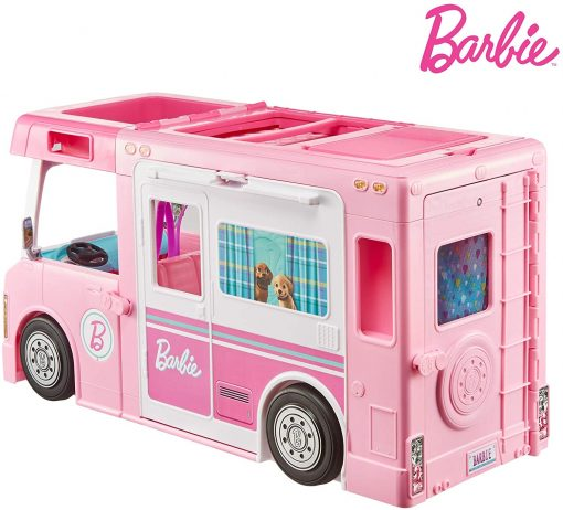 Barbie 3-in-1 DreamCamper Vehicle, approx. 3-ft, Transforming Camper with Pool, Truck, Boat and 50 Accessories, Makes a Great Gift for 3 to 7 Year Olds - 9