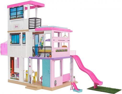 Barbie Dreamhouse (3.75-ft) 3-Story Dollhouse Playset with Pool & Slide, Party Room, Elevator, Puppy Play Area, Customizable Lights & Sounds 10