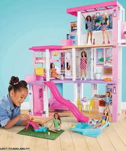 Barbie Dreamhouse (3.75-ft) 3-Story Dollhouse Playset with Pool & Slide, Party Room, Elevator, Puppy Play Area, Customizable Lights & Sounds 2