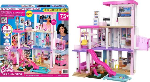 Barbie Dreamhouse (3.75-ft) 3-Story Dollhouse Playset with Pool & Slide, Party Room, Elevator, Puppy Play Area, Customizable Lights & Sounds