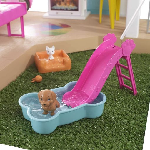 Barbie Dreamhouse (3.75-ft) 3-Story Dollhouse Playset with Pool & Slide, Party Room, Elevator, Puppy Play Area, Customizable Lights & Sounds 6