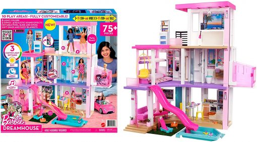Barbie Dreamhouse (3.75-ft) 3-Story Dollhouse Playset with Pool & Slide, Party Room, Elevator, Puppy Play Area, Customizable Lights & Sounds 8