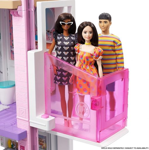 Barbie Dreamhouse (3.75-ft) 3-Story Dollhouse Playset with Pool & Slide, Party Room, Elevator, Puppy Play Area, Customizable Lights & Sounds 9