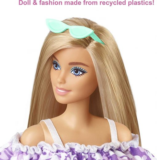 Barbie Loves The Ocean Beach-Themed Doll (11.5-inch Blonde), Made from Recycled Plastics, Wearing Fashion & Accessories, Gift for 3 to 7 Year Olds 3